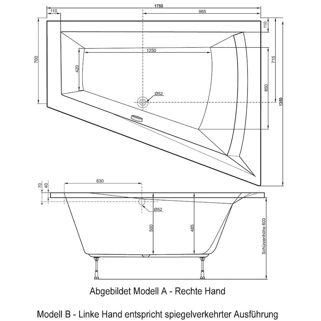 OTTOFOND Badewanne »Galia II«, für 2 Personen, mit Fußgestell
