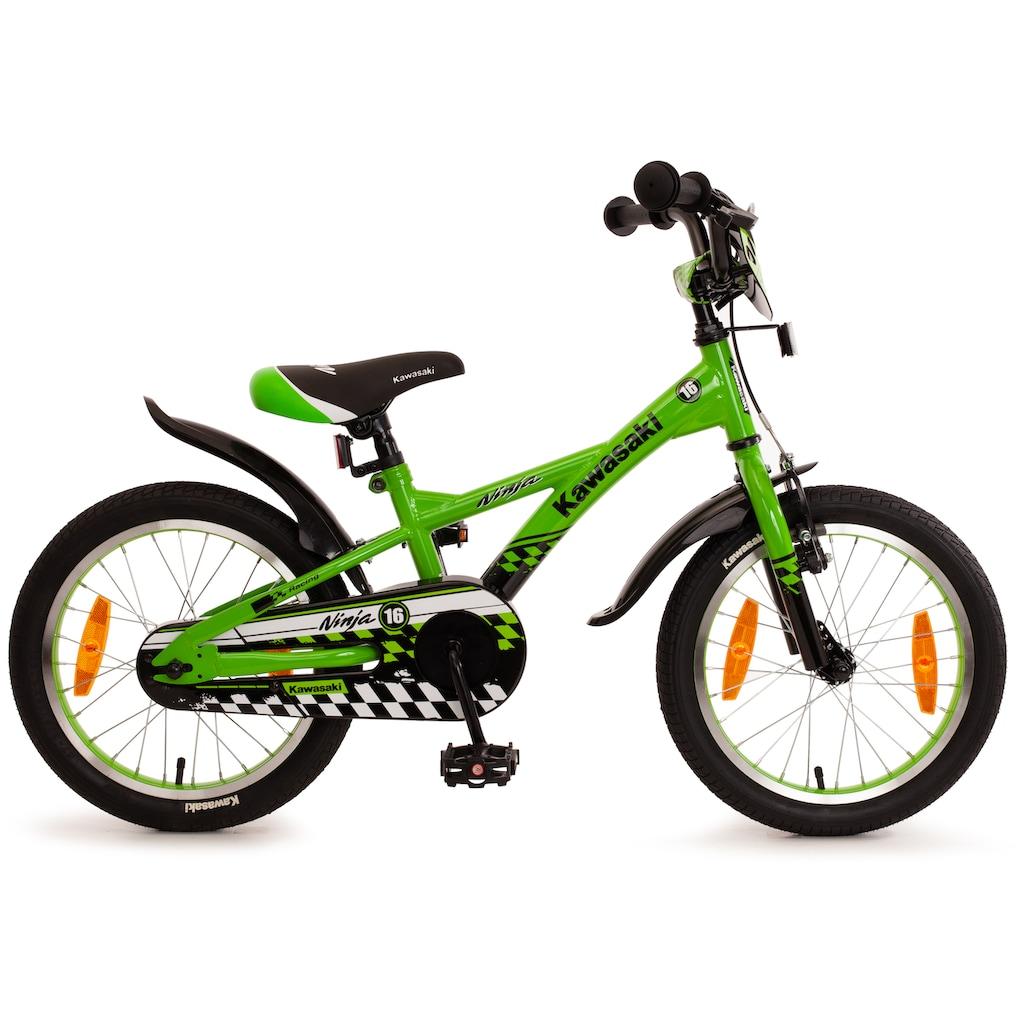 """Bachtenkirch Mountainbike »16"""" Kinderfahrrad """"KAWASAKI - Ninja"""", grün/schwarz«, 1 Gang"""