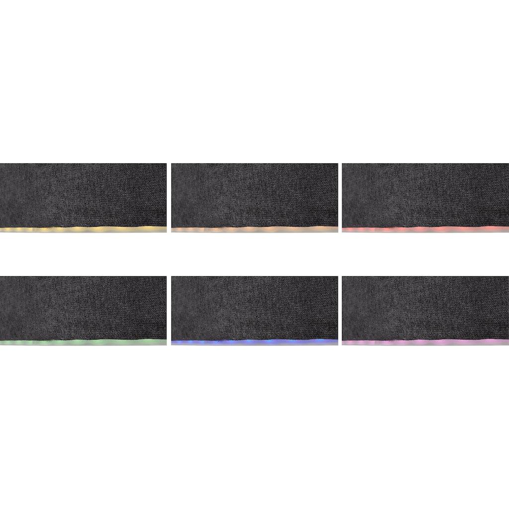 COTTA Wohnlandschaft »Komaris«, inklusive Kopfteilverstellung, wahlweise mit Bettfunktion und RGB-LED-Beleuchtung, moderner chromfarbener Fuß