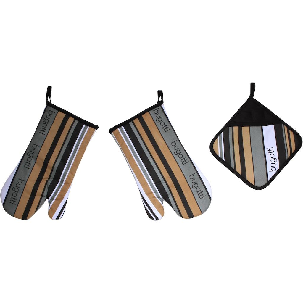 bugatti Topfhandschuhe »bugatti Tape«, (Set, 3 tlg., bestehend aus 2x Ofenhandschuh, 1x Topflappen)