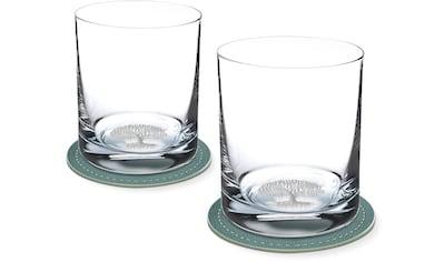 Contento Whiskyglas, (Set, 4 tlg., 2 Whiskygläser und 2 Untersetzer), Baum, 400 ml, 2... kaufen