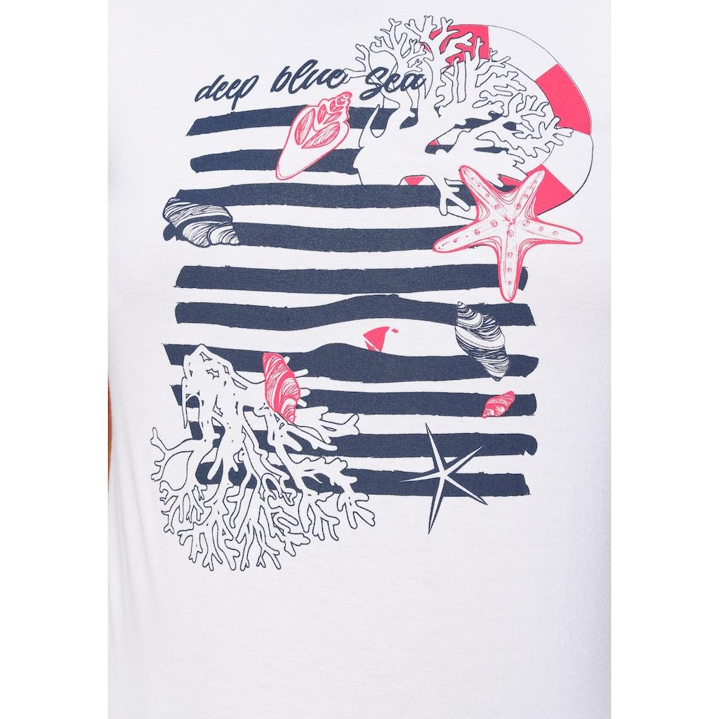 Tamaris Rundhalsshirt, mit maritimem Frontprint