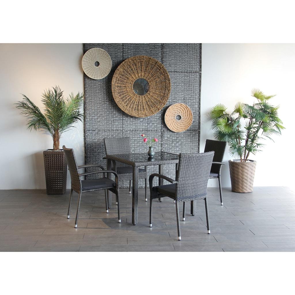 Ploß Gartenstuhl »BRADFORD«, 4er Set, Stahl, stapelbar, graphit