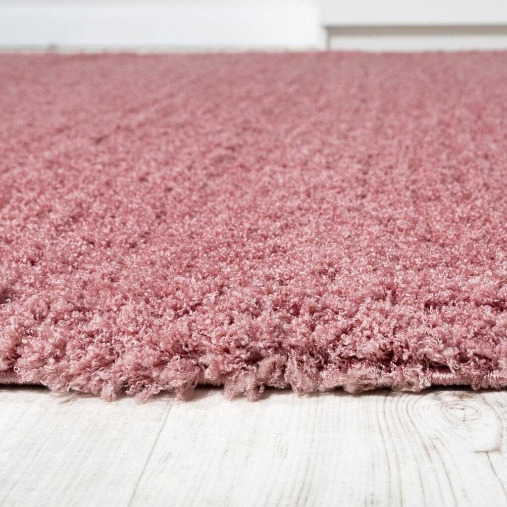 Paco Home Hochflor-Teppich »Avantgarde 550«, rund, 45 mm Höhe, Hochflor-Shaggy, einfarbig und weich, Wohnzimmer