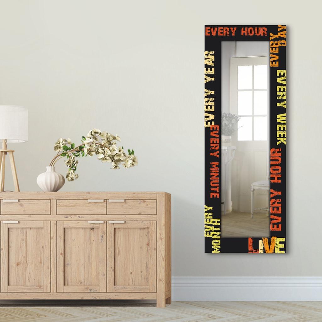 Artland Wandspiegel »Wohnen«, gerahmter Ganzkörperspiegel mit Motivrahmen, geeignet für kleinen, schmalen Flur, Flurspiegel, Mirror Spiegel gerahmt zum Aufhängen