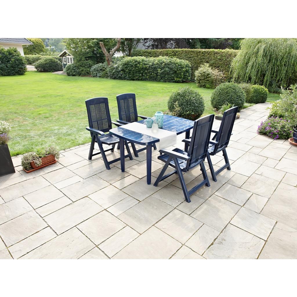 Best Gartenstuhl »Elise«, 2er Set, Kunststoff, verstellbar, blau, inkl. Auflage
