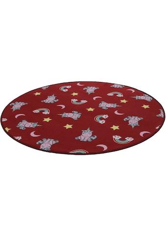 Kinderteppich, »Einhorntraum«, Living Line, rund, Höhe 7 mm, maschinell gewebt kaufen