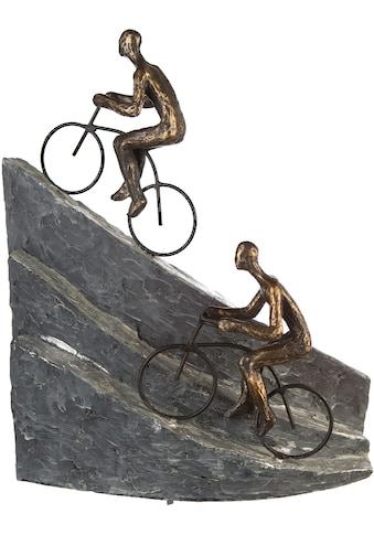 Casablanca by Gilde Dekofigur »Skulptur Racing, bronzefarben/grau«, Dekoobjekt, Höhe 33, Radfahrer am Berg, mit Spruchanhänger, Wohnzimmer kaufen