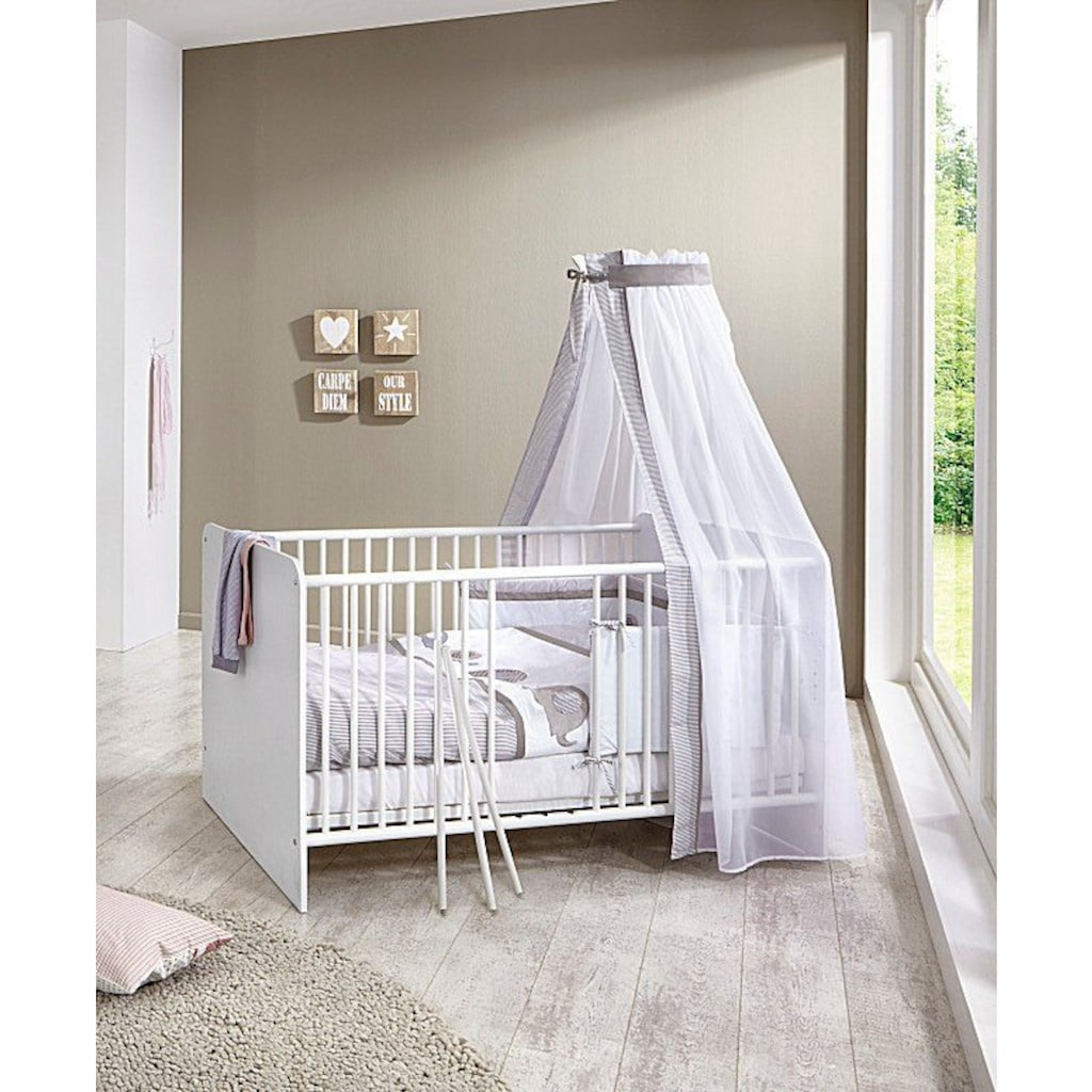 BMG Babyzimmer-Komplettset »Luis«, (Set, 6 St.), Bett + Wickelkommode + 2-trg. Schrank + Unterstellregal (Set 2-tlg.) + Wandboard