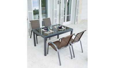 MERXX Gartenmöbelset »Côte d´Azur«, 5 - tlg., 4 Sessel, Tisch 180x90x75 cm, grau kaufen
