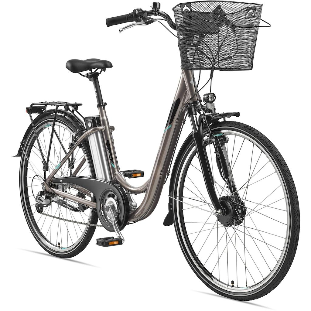 Telefunken E-Bike »Multitalent RC820«, 7 Gang, Shimano, Shimano Acera, Frontmotor 250 W, (mit Fahrradkorb)