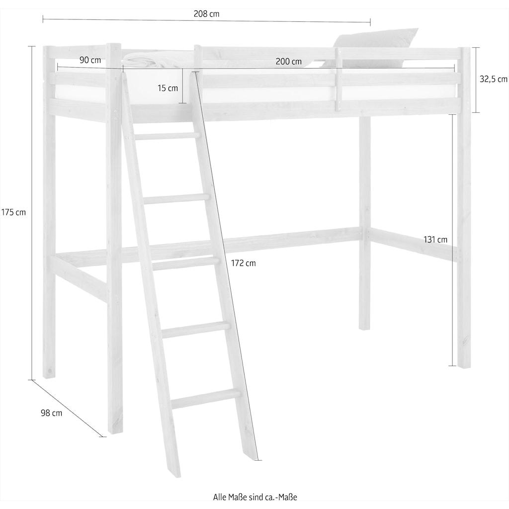 Lüttenhütt Kinderbett »Alpi«, aus massivem Kiefernholz, Inklusive einer Leiter und einem Lattenrost, Liegefläche 90x200 cm