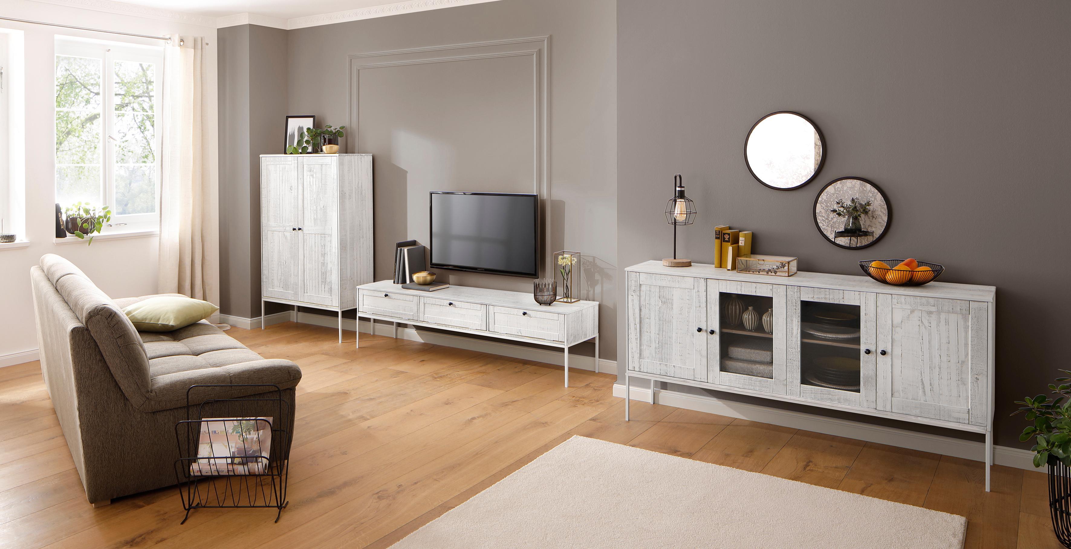 Home affaire Glasvitrine »Freya« mit 2 Holztüren und quadratische Röhrenbeine, in zwei verschiedenen Farben   Wohnzimmer > Vitrinen > Glasvitrinen   Natur   HOME AFFAIRE
