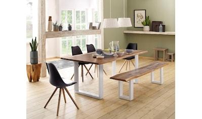 Home affaire Tisch »Lagos« (Set), bestehend aus dem Micala Esstisch, Micala Bank und 4 Brighton Stühlen kaufen