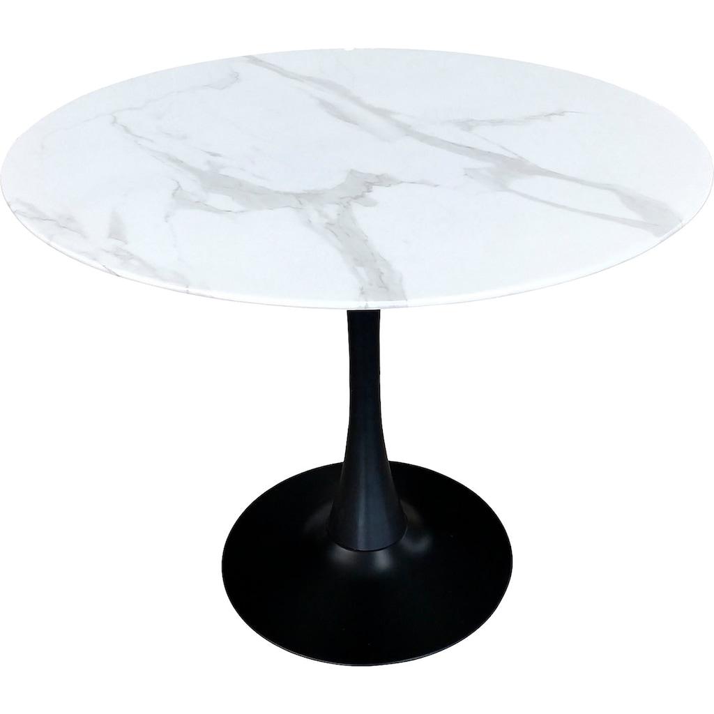 my home Esstisch »Alannah«, Tischplatte in Marmoroptik