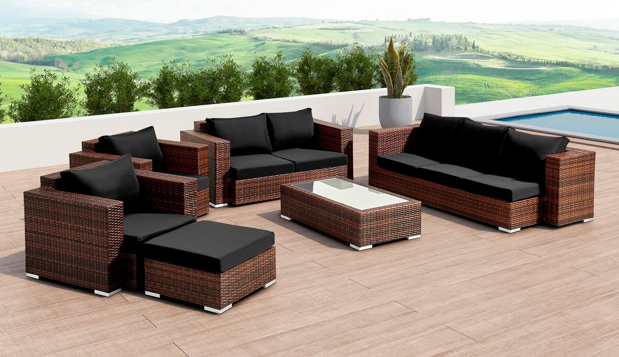 BAIDANI Loungeset »Daylight«, 3er Sofa, 2er Sofa, 2 Sessel, 1 Hocker, Tisch, Polyrattan