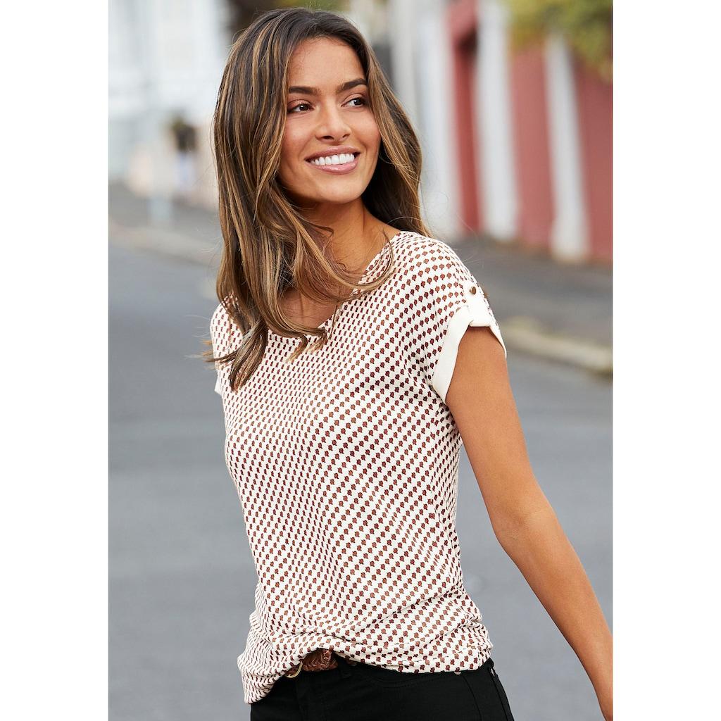 Vivance T-Shirt, mit kleinem Beleg und goldfarbenen Knopf am Ärmelsaum