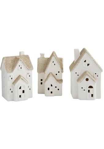 LED Dekoobjekt »Porzellan-Häuschen«, Neutralweiß, 3er Set, mit glitzernden Dächern kaufen