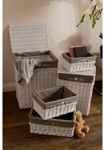 Home affaire Wäschekorb »Home«, weiß/grau kaufen