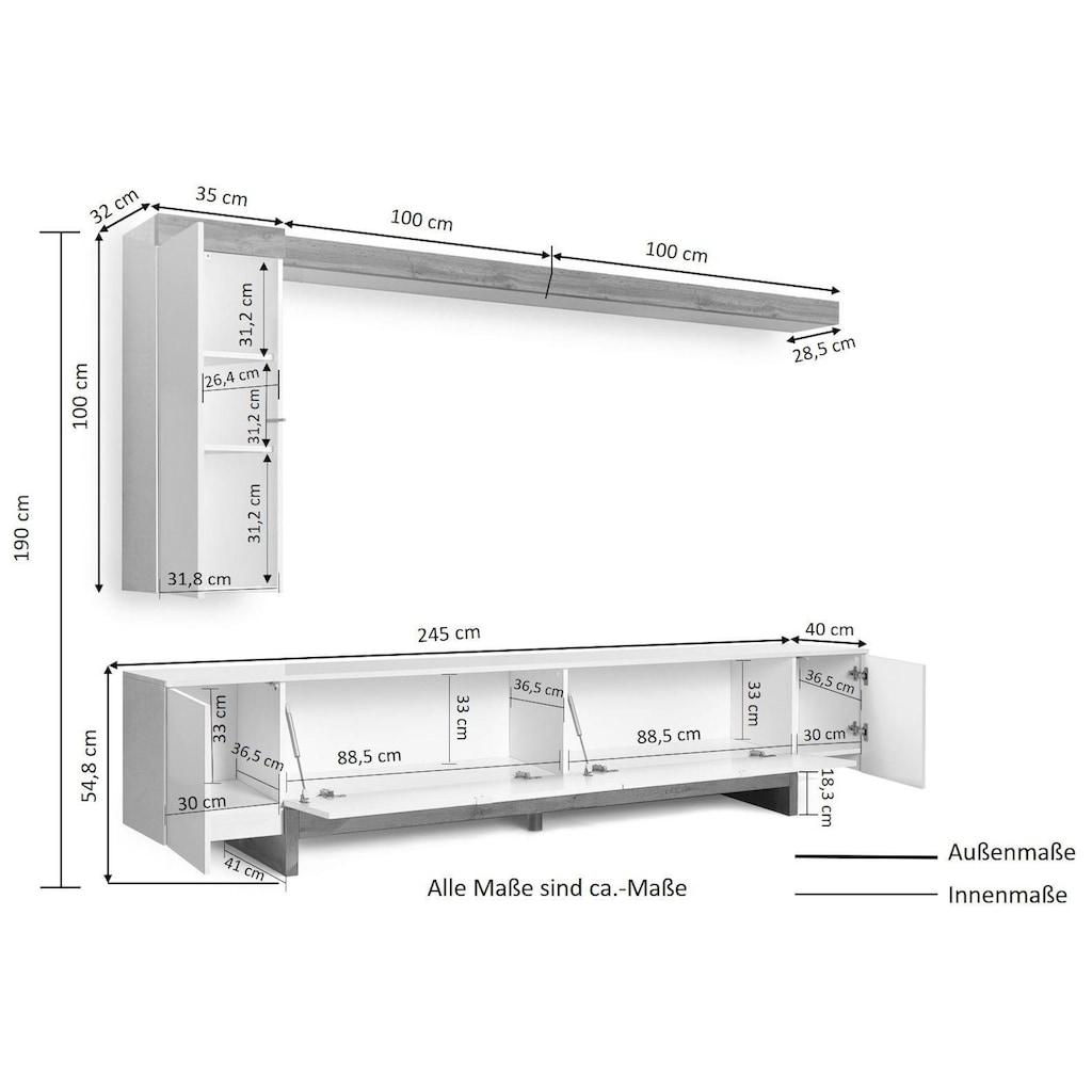KITALY Wohnwand »Fiorella«, (Set, 3 St.), Front/ Korpus weiß Hochglanz