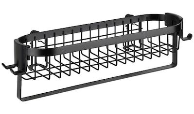 WENKO Wandregal »Classic Plus Black«, (1 St.), schwarz, mit Haken und Handtuchstange kaufen