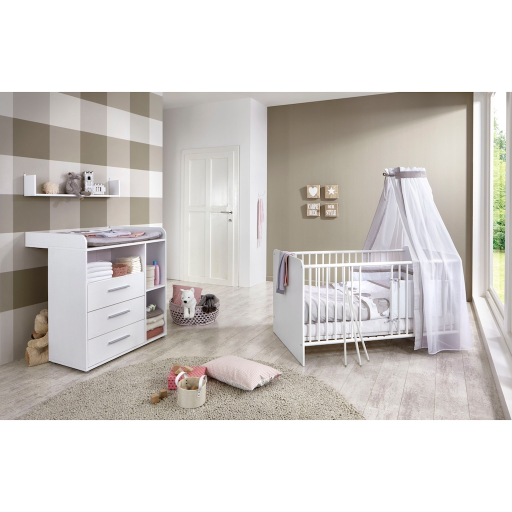 BMG Babymöbel-Set »Luis«, (Set, 3 tlg.), Bett + Wickelkommode + Wandboard