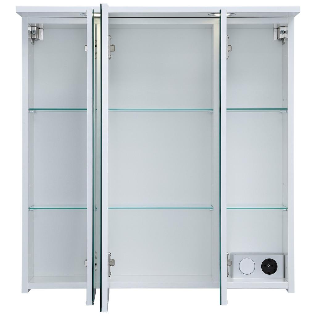 Schildmeyer Spiegelschrank »SPS 700.1 Spot«, Breite 70 cm, 3-türig, 2 LED-Einbaustrahler, Schalter-/Steckdosenbox, Glaseinlegeböden, Made in Germany