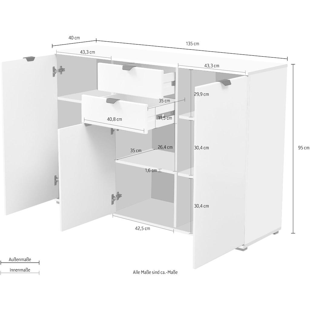 my home Sideboard »Duero«, mit 2 Schubkästen, Breite 135 cm