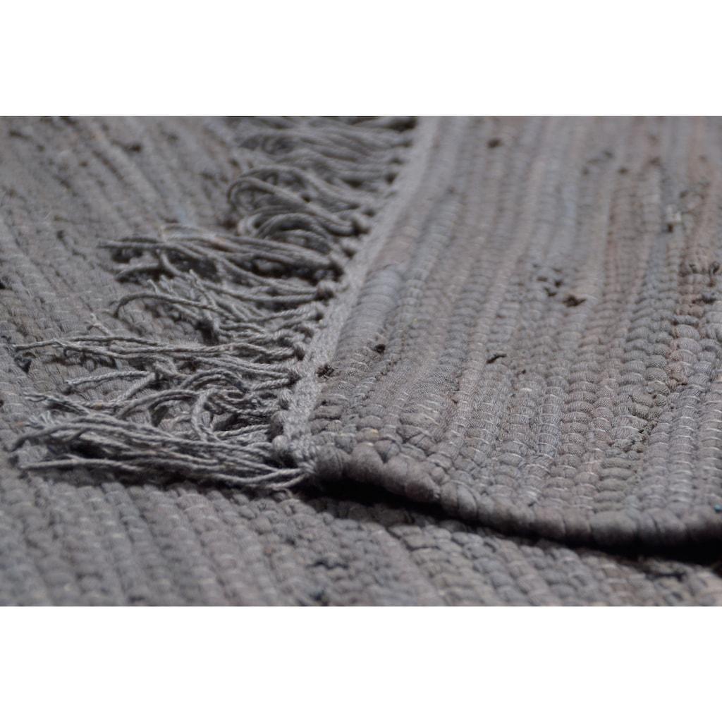 THEKO Teppich »Happy Cotton«, rechteckig, 5 mm Höhe, Flachgewebe, reine Baumwolle, handgewebt, mit Fransen, Wohnzimmer