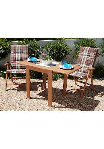 MERXX Gartenmöbelset »Borkum«, 5 - tlg.,2 Klappsessel, Tisch 70x130 cm, Eukalyptus, braun kaufen