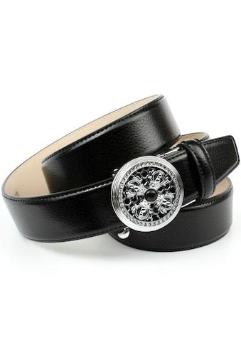 Anthoni Crown Ledergürtel, mit silberfarbener Automatik-Schließe, Strass-Steine kaufen