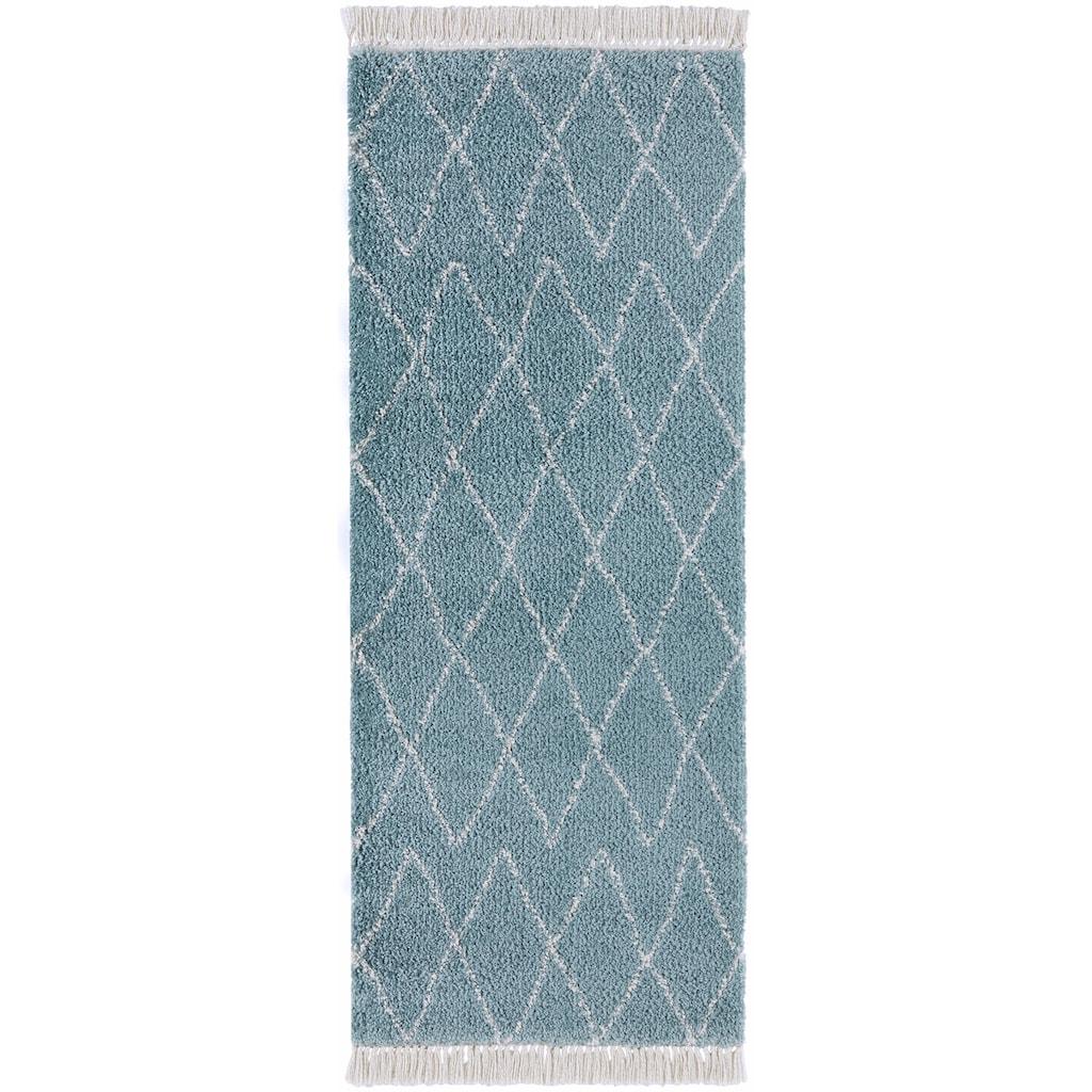 MINT RUGS Hochflor-Läufer »Jade«, rechteckig, 35 mm Höhe, pastell Farben mit Fransen