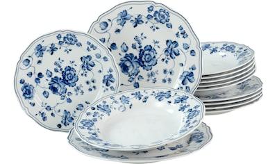 CreaTable Tafelservice »ROYAL BLUE FLOWER«, (Set, 12 tlg., 6 Speiseteller 26 cm 6... kaufen