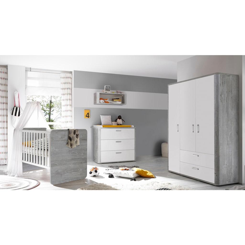 Babyzimmer-Komplettset »Aarhus«, (Set, 3 tlg.), Bett + Wickelkommode + 3 trg. Schrank