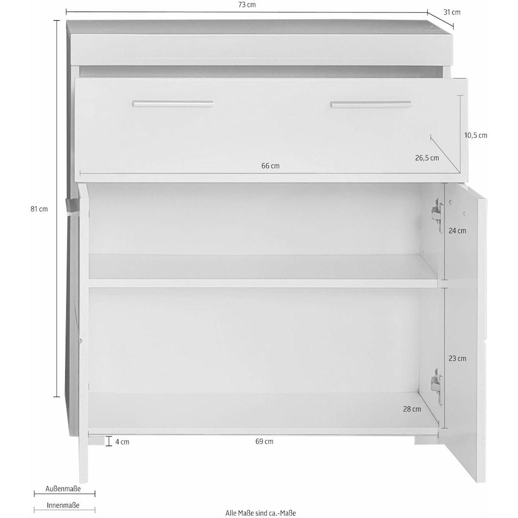 trendteam Unterschrank »Amanda«, Breite 73 cm, Badezimmerschrank mit 1 großen Schubkasten und 2 Türen, MDF-Fronten in Hochglanz- oder Holzoptik