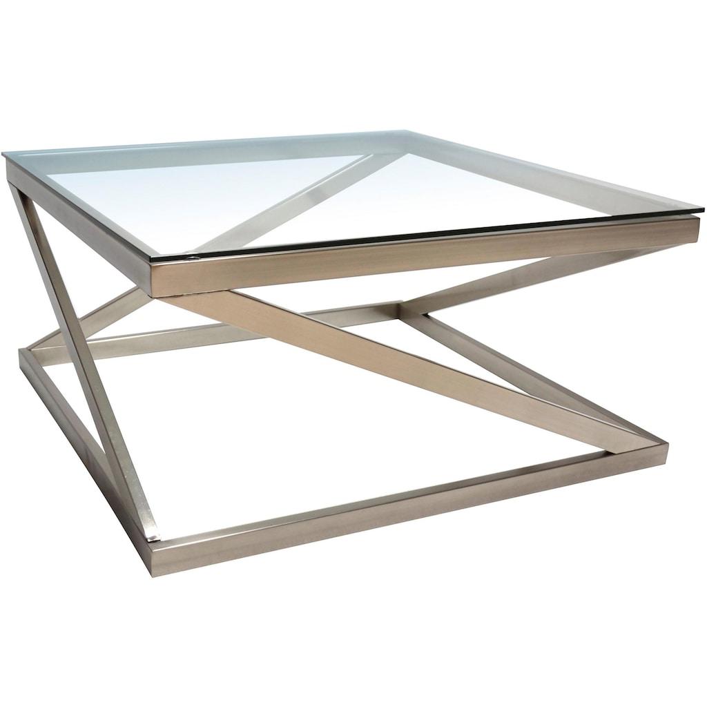 Leonique Couchtisch »Coylin«, rechteckiges Metallgestell mit einem Ablageboden aus Glas