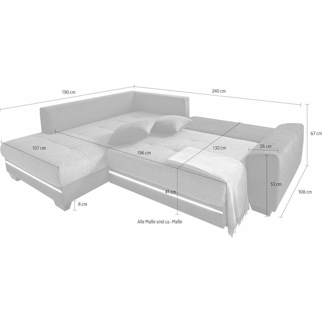 Nova Via Ecksofa »Nikita 2«, wahlweise mit Kaltschaum (140kg Belastung/Sitz), mit RGB-LED-Beleuchtung, Bluetooth-Soundsystem und Bettfunktion