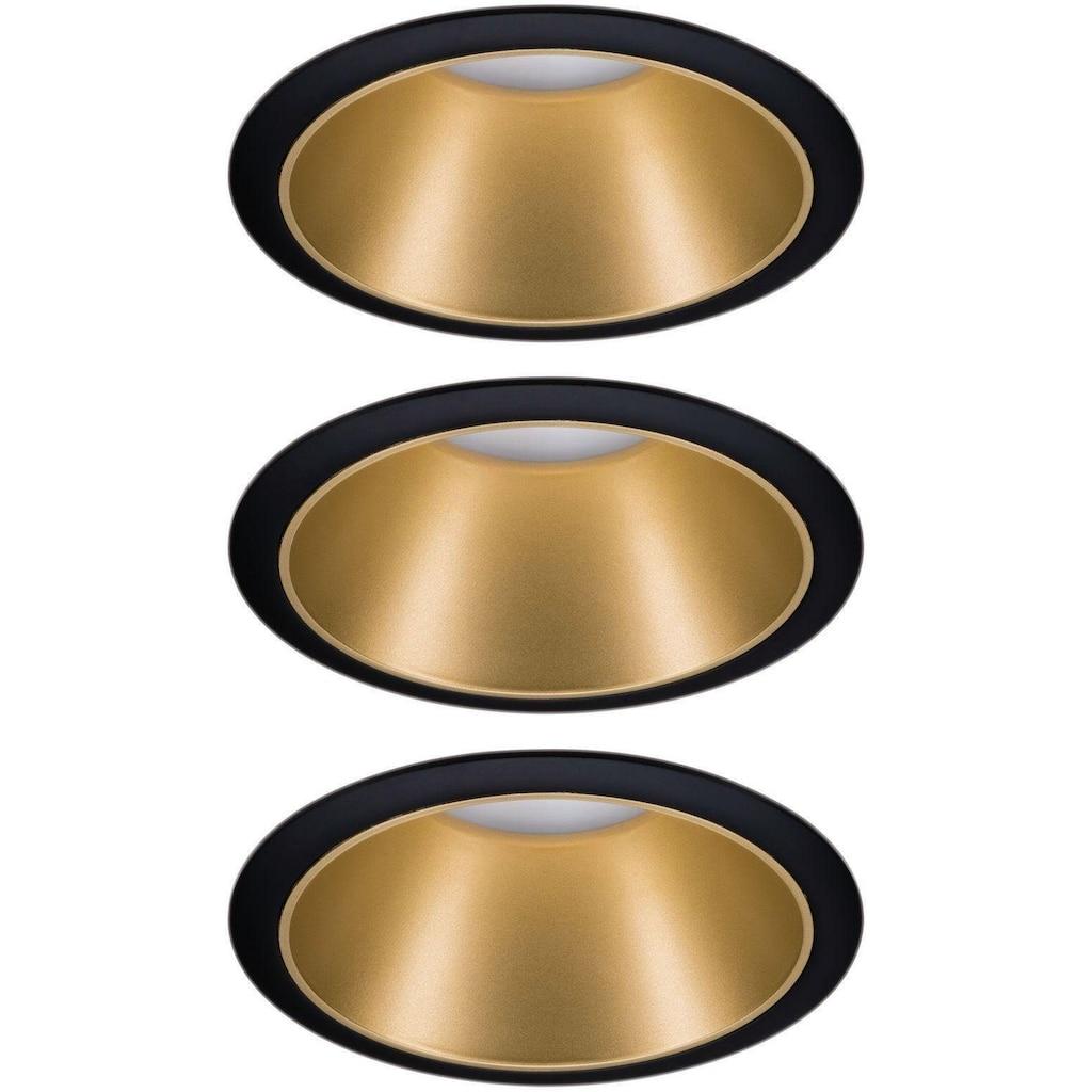 Paulmann LED Einbauleuchte »Cole 3x6,5W Schwarz/Gold matt 3-Stufen-dimmbar 2700K Warmweiß«, Warmweiß, Deckenspots, 3er Set