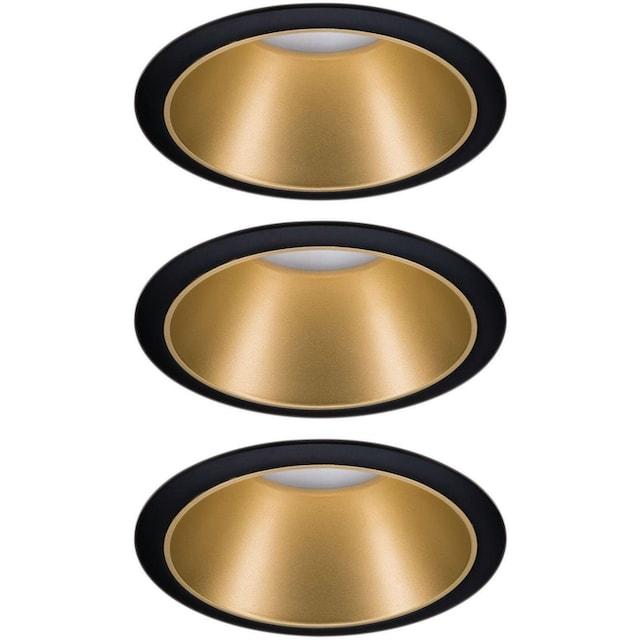 Paulmann,LED Einbauleuchte»Cole 3x6,5W Schwarz/Gold matt 3-Stufen-dimmbar 2700K Warmweiß«,