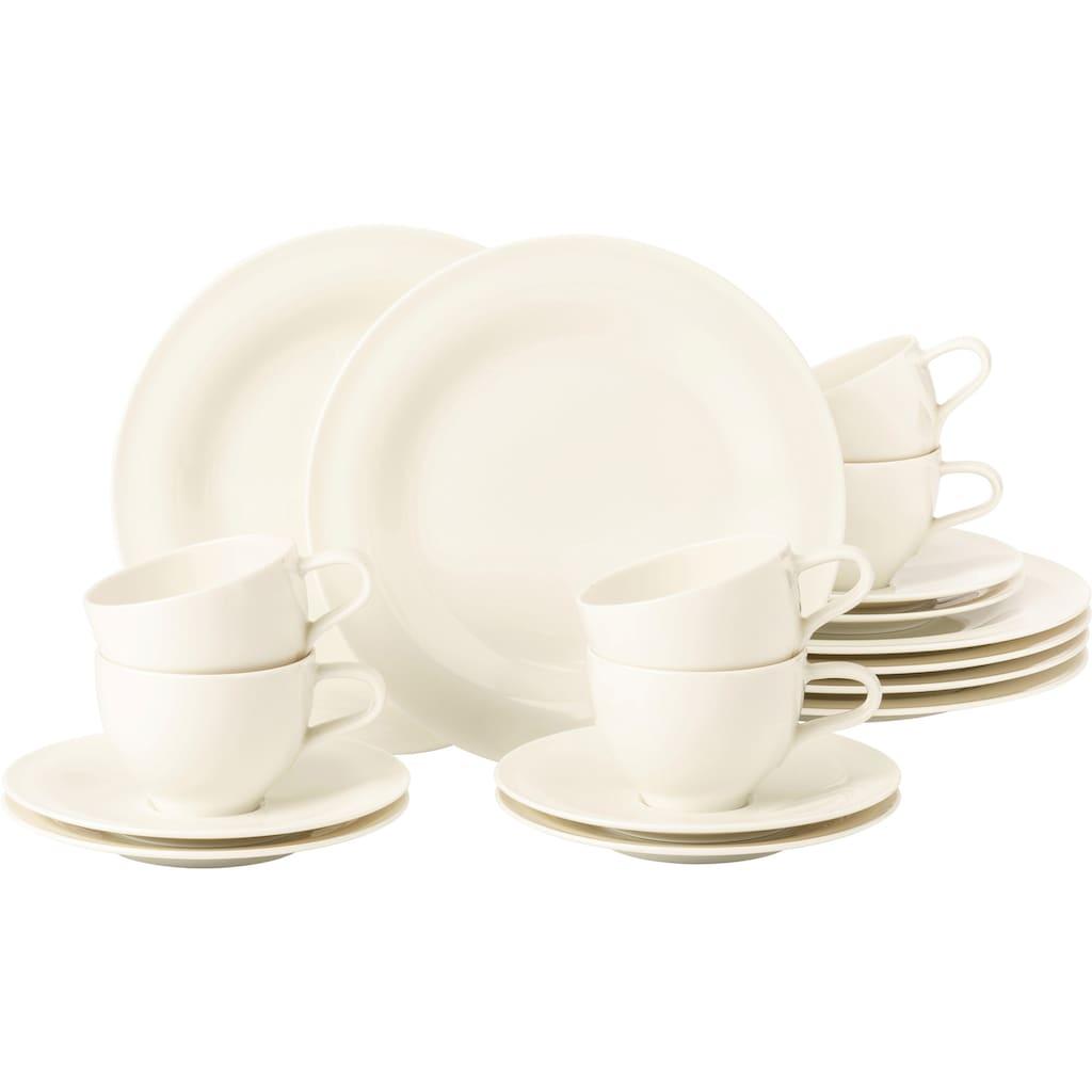 Seltmann Weiden Kaffeeservice »Medina«, (Set, 18 tlg., 6 x Kaffeeobertasse 0,26 l 6 x Kombi-Untertasse groß 16,5 cm 6 x Frühstücksteller rund 23 cm), cremefarbene Optik