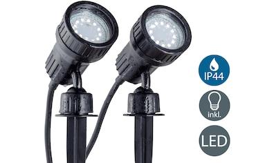 B.K.Licht LED Gartenleuchte »Nima 2«, GU10, 2 St., Warmweiß, LED Gartenstrahler Erdspieß IP44 Außenstrahler Strahler Spießstrahler 2er SET kaufen