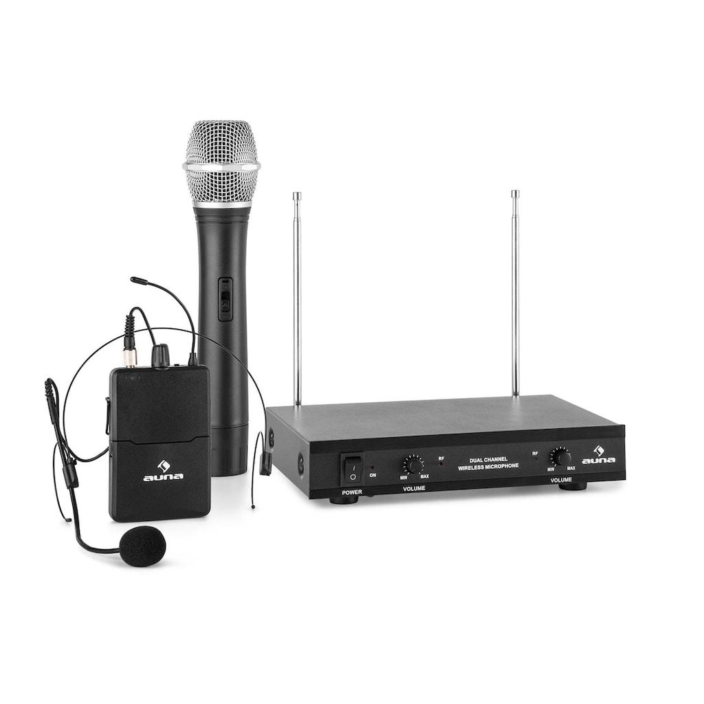 Auna 2-Kanal-VHF-Funkmikrofon Set 1xHeadset 1xHandmikrofon 100m