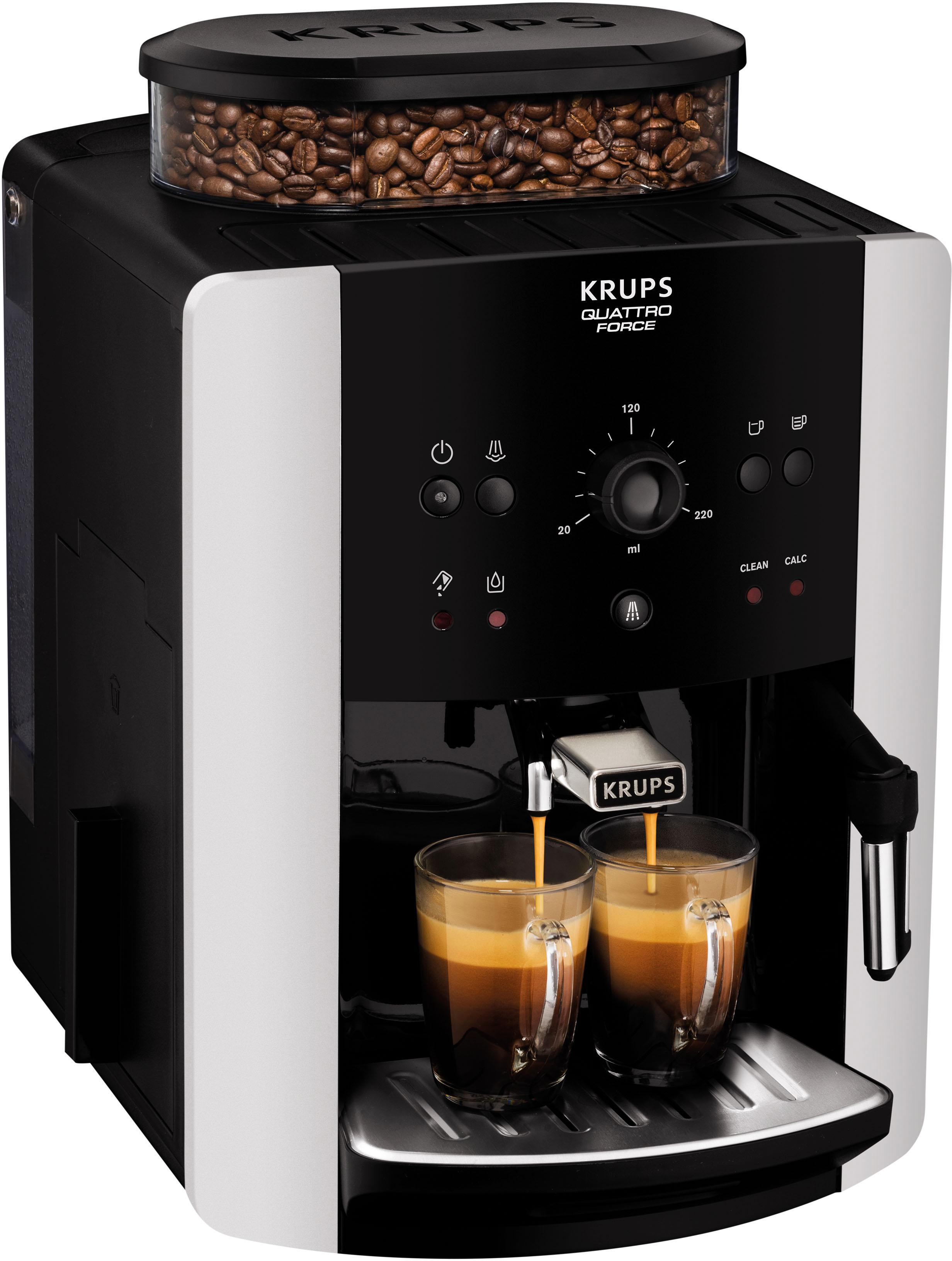 Krups Kaffeevollautomat EA8118 Arabica Quattro Force, 1, 8l Tank, Kegelmahlwerk | Küche und Esszimmer > Kaffee und Tee > Kaffeevollautomaten | Schwarz | Metall | Krups
