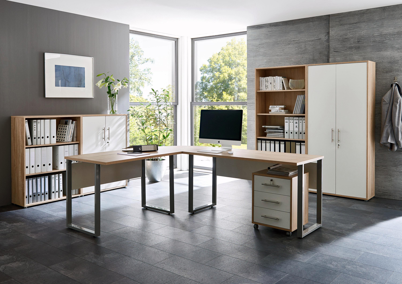 BMG Möbel Büromöbel-Set »Tabor Office 1« (8-tlg.) | Büro > Büromöbel-Serien | Braun | Eiche - Sonoma - Edelstahl - Abs | QUELLE