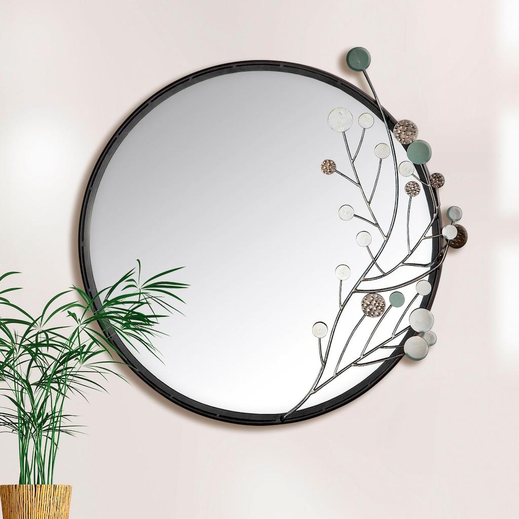 GILDE Wandspiegel »Twig«, (1 St.), Dekospiegel, Spiegel, aus Metall, rund, handgefertigt, Wohnzimmer