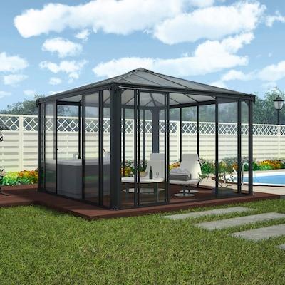 geschlossener fest stehender Pavillon aus Glas