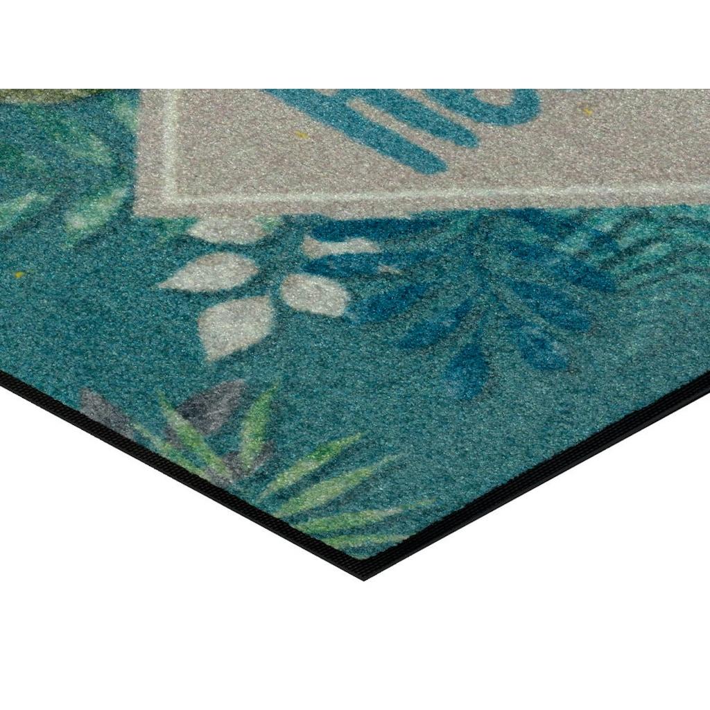 wash+dry by Kleen-Tex Fußmatte »Floral Hello«, rechteckig, 7 mm Höhe, Schmutzfangmatte, mit Spruch, In- und Outdoor geeignet, waschbar