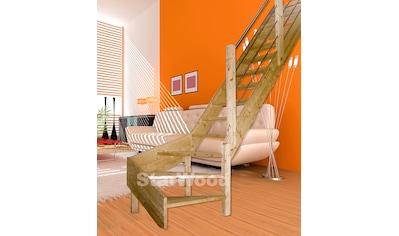 STARWOOD Raumspartreppe »Korfu«, offene Stufen, 1/4 rechts gewendelt, Holz - Edelstahlgel. re kaufen