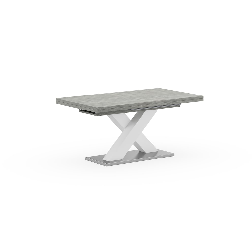 Esstisch »Komfort C«, mit X-Gestell in weiß und mit Auszugsfunktion, Breite 160-260 cm