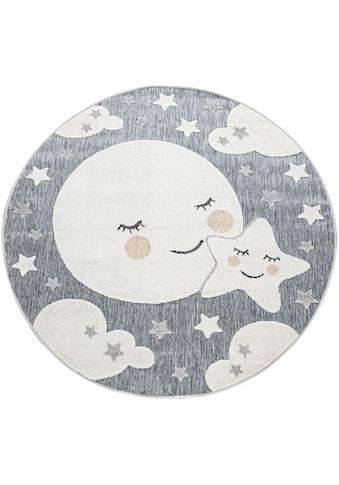Paco Home Kinderteppich »Tweet 465«, rund, 8 mm Höhe, Motiv Mond & Sterne, In- und... kaufen